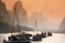 Junks Sailing the Li River, China