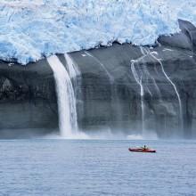 Kayaker and Hanging Glaciers, Icy Bay, Alaska