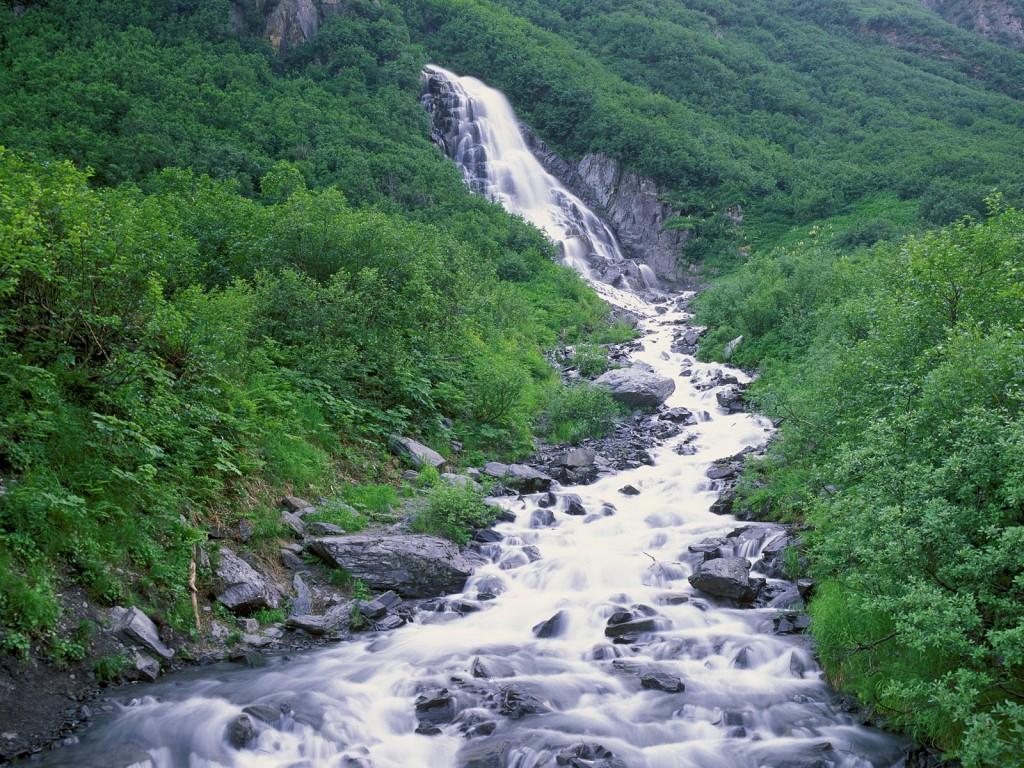 Seasonal Waterfall, Chugach Mountains, Alaska
