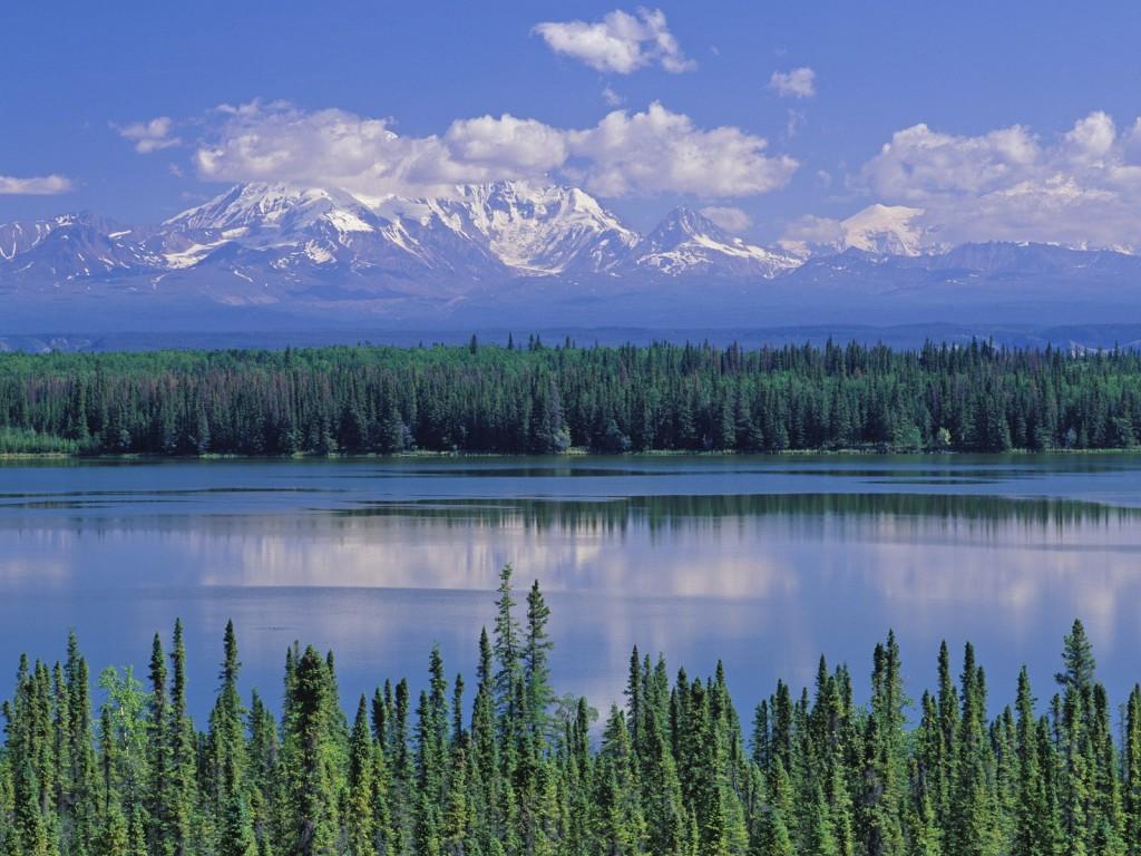 Willow Lake and Mount Wrangell, Wrangell Saint Elias National Park, Alaska