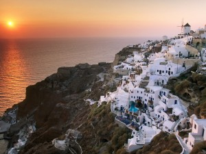 Sunset on the Island of Santorini, Greece